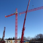 Setting up the tower crane