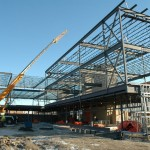 Structural steel work nearing completion.